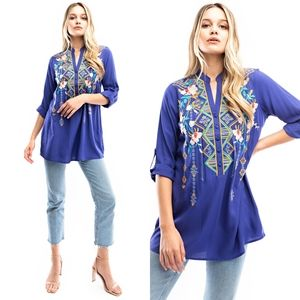 Anthropologie Luna Moon Embroidered Seabreze Tunic
